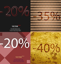 35 20 40 icon set of percent discount on abstract vector