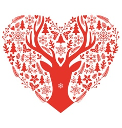 Christmas card with red heart vector image