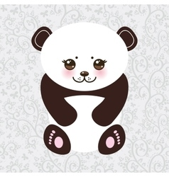 Kawaii funny panda white muzzle with pink cheeks vector