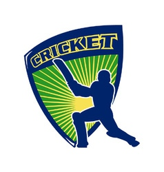 Cricket sports shield vector