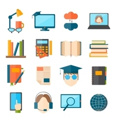Education and school web icon set college vector image