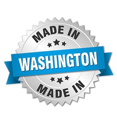 Made in washington silver badge with blue ribbon vector
