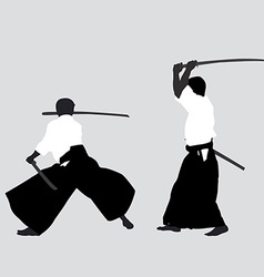 Men silhouettes practicing aikido vector