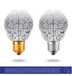 brain and light bulbs vector image vector image