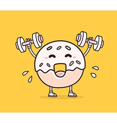 bright color smile donut lifts dumbbells vector image