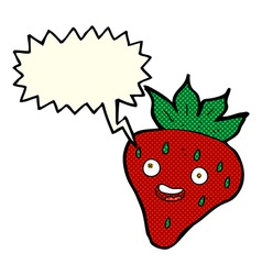 Cartoon happy strawberry with speech bubble vector