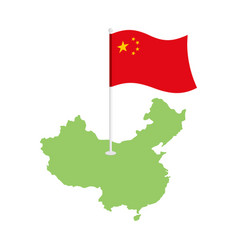 China map and flag chinese resource and land area vector