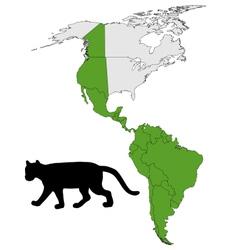Cougar range map vector