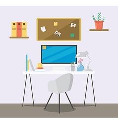 Creative flat workspace vector