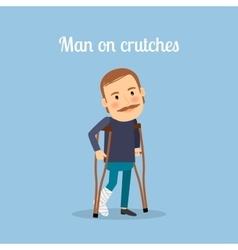 Disabled man on crutches vector