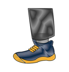Drawing foot with blue shoe sport vector