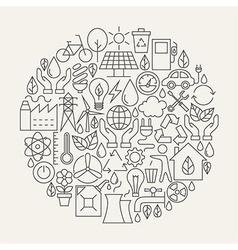 Ecology Line Icons Set Circle Shape vector image