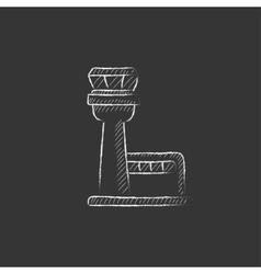 Flight control tower drawn in chalk icon vector