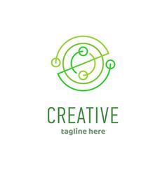 geometric abstract logo design linear icon vector image vector image