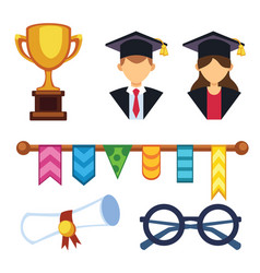 graduation man and woman silhouette uniform avatar vector image vector image