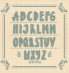 Hand drawn alphabet with doodle letters vector
