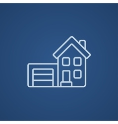 House with garage line icon vector image