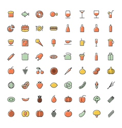 icons thin blue food vector image vector image