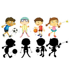 Kids doing different sports vector image vector image