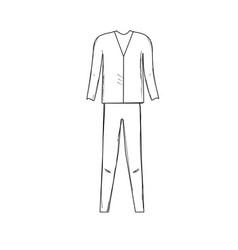 Line cute man elegant wear design vector