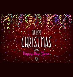 merry christmas and happy new year handwritten vector image