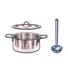 Metal pot ladle sketch cartoon isolated vector