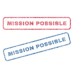 Mission possible textile stamps vector