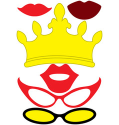 Party queen accessories set - glasses crown lips vector