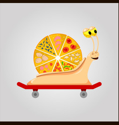 pizza snail on skateboard vector image vector image