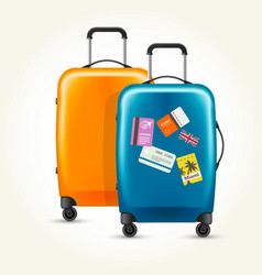 plastic wheeled suitcases - baggage with travel vector image