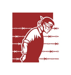 Prisoner blindfolded and hands tied vector