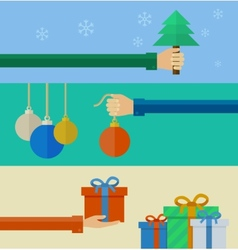 Set of christmas concepts in flat design vector image vector image