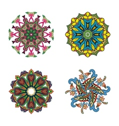 Set of four flower circle mandalas vector image