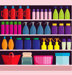 Supermarket shelves with assortment of products vector