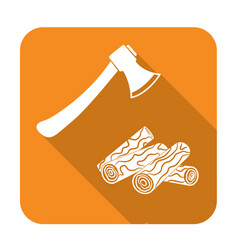 the ax and firewood icon vector image vector image