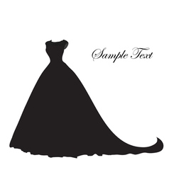 Wedding dress silhouette banner blank template vector image
