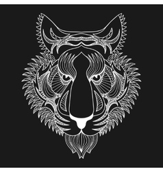 white Tiger Zentangle Tiger face vector image vector image
