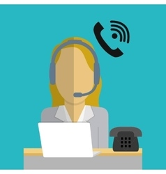 Operator woman call center service icon vector