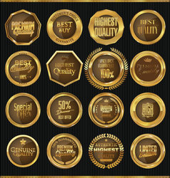 Premium quality gold and brown labels collection vector image