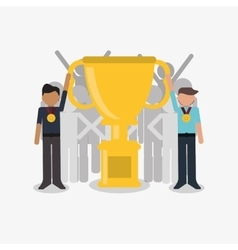 Businessman and trophy icon vector