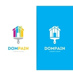house and brush logo combination Real vector image
