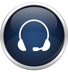 Blue headset icon vector