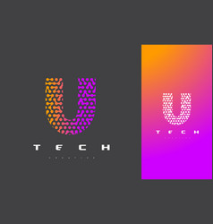 u letter logo technology connected dots letter vector image