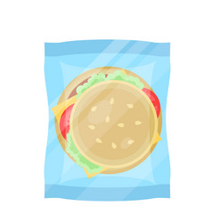 packaged hamburger icon in flat design vector image