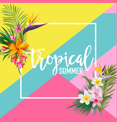 Tropical flowers and palms summer graphic vector