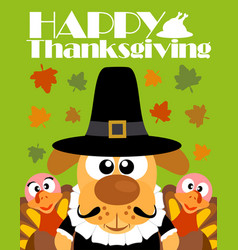 Happy thanksgiving day backgroundwith dog pilgrim vector