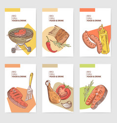 Bbq and grill hand drawn cards brochure menu vector