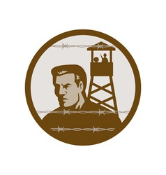 Prisoner of war in a concentration camp with guard vector image