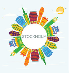 Stockholm skyline with color buildings blue sky vector