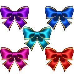 Set of festive bows with golden edging vector